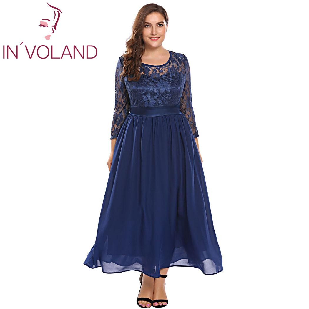 IN'VOLAND Women Vintage Lace Dress Plus Size XL-5XL Autumn Hollow Floral Lace 3/4 Sleeve Party Swing Maxi Large Dresses Big Size