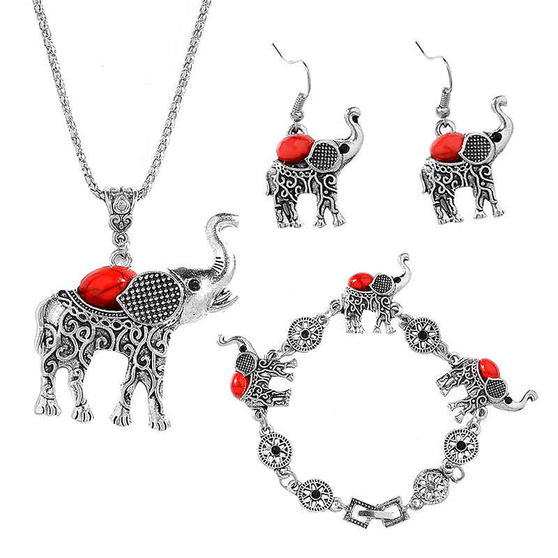 Fashion Jewelry Set Retro Animal Elephant Suit Crystal Necklace Earrings Bracelet Wedding Party Jewelry Sets Statement Jewelry