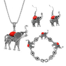 Fashion Jewelry Set Retro Animal Elephant Suit Crystal Necklace Earrings Bracelet Wedding Party Jewelry Sets Statement Jewelry(China)