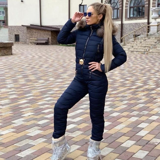 2018 New Winter Hooded Parka Jumpsuits Straight Elegant Padded Warm Thick Sashes Casual Jumpsuits Zipper Women Ski Suit 1