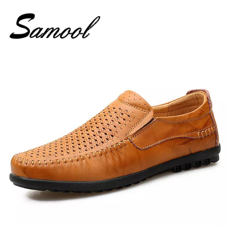 Summer Genuine Leather Mens Shoes Casual Luxury Brand Men Loafers Hollow Out Breathable Driving Shoes Slip On Male Moccasins kx5 genuine leather flats men shoes loafers new fashion slip on moccasins handmade driving zapatos hombre breathable cut outs summer