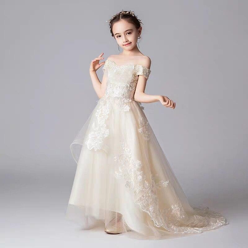 2019Fashion Girls Children First Communion Evening Party Fluffy Floral Dress Kid Teens Elegant Wedding Birthday Long Tail Dress