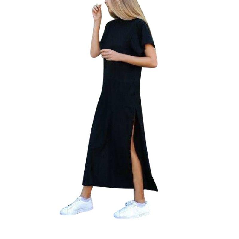Summer Dress Side High Slit Long T Shirt Women Sex Dress -1498