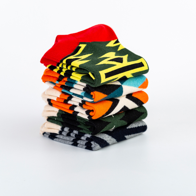 Jhouson High Quality Men's Casual Novelty Socks New 2019 Summer Ankle Socks Combed Cotton Plaid Striped Dress Boat Socks 6