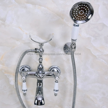 Chrome Polished Bathroom Bathtub Mixer Faucet Telephone Style With Brass Handshower Bath & Shower Faucets Nna242 kemaidi floor standing bathtub faucets brass chrome free standing bath shower mixer set bath tub faucet with handshower