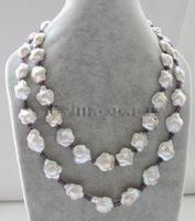 2row 17 19 15 17mm white baroque freshwater pearl &4mm stone necklace