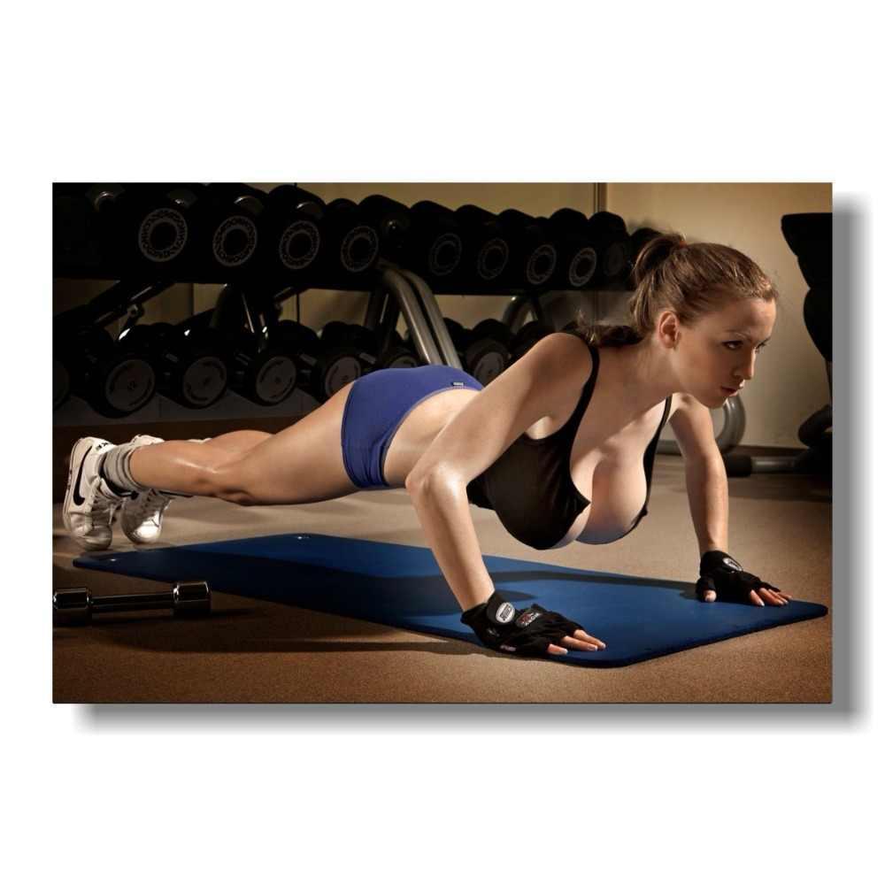 Impressão de cartaz de parede rolada de pano de tecido motivacional de musculação de fitness feminino sexy-tamanho: 80x120 cm