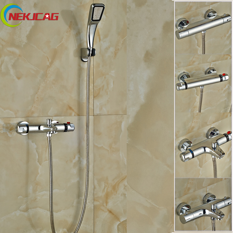 Cheaper Bathroom Shower Mixer Faucet Dual Handle Thermostatic Shower Set Handheld Shower Taps with Bracket sognare new wall mounted bathroom bath shower faucet with handheld shower head chrome finish shower faucet set mixer tap d5205
