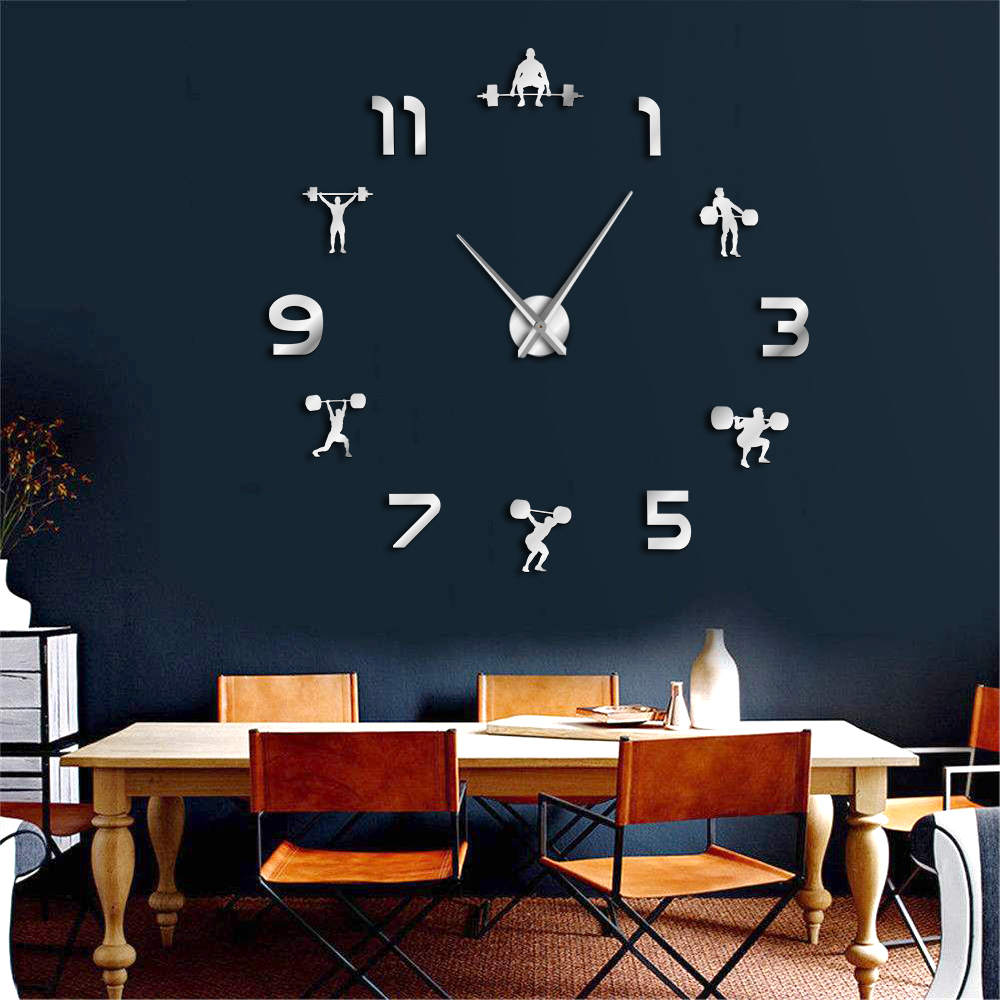 Weightlifting Fitness DIY Giant Clock GYM Wall Sticker Watch 3D Luxury Wall Clock Creative Wall Art Decor For GYM