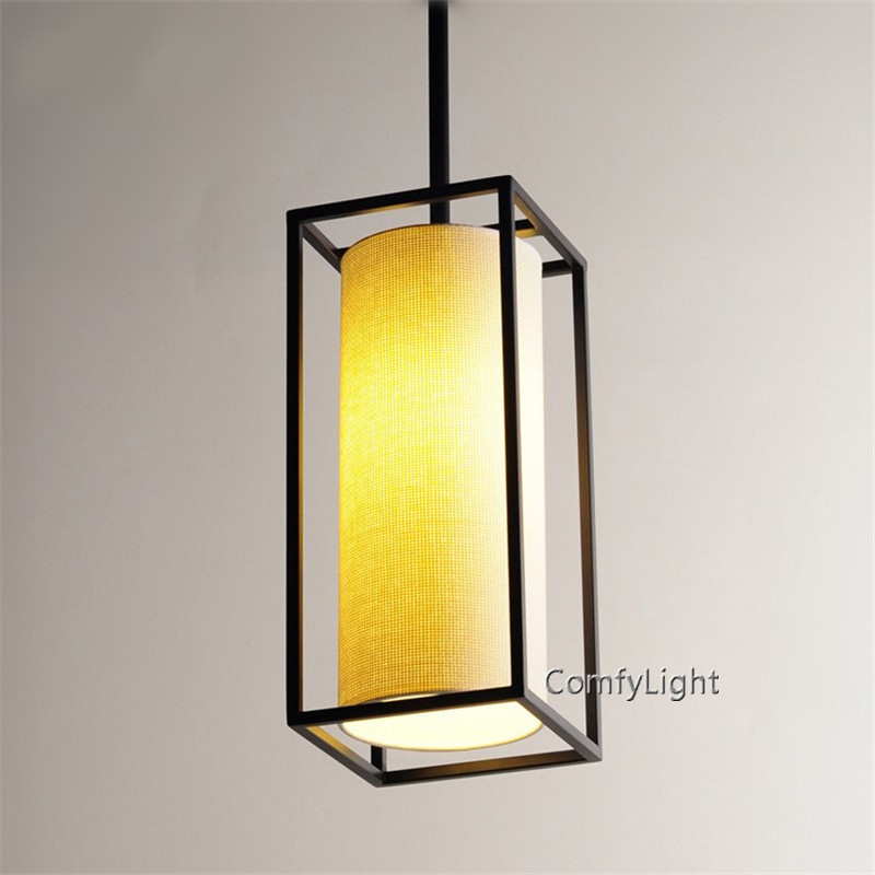 Modern led Plug-In Pendant Light Natural Linen Drum Shade black iron style dinning room living room foyer Coffee House