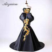 Luxury Black Wedding Dress 2018 Gold Phoenix Embroidery Traditional Evening Gown Plus Size Fashion Show Women Cheongsam Tailing