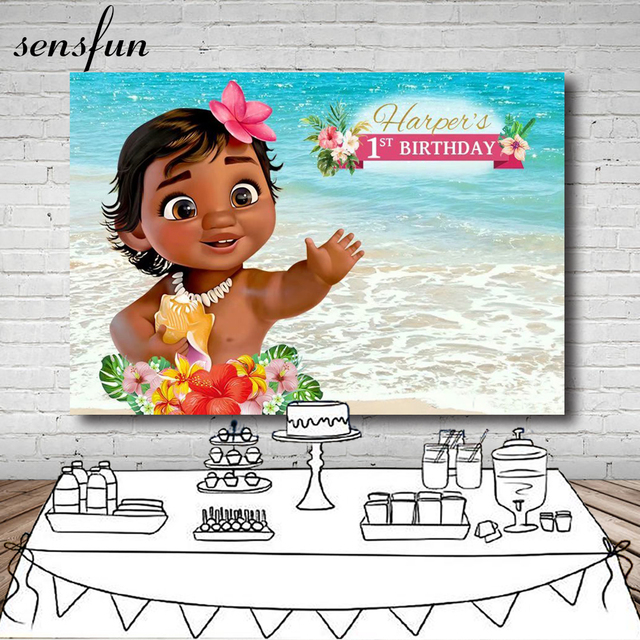 Sensfun Moana Flower Tropical Backdrop For Kids Sea Beach Summer 1st Birthday Party Baby Shower Backgrounds For Photo Studio