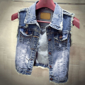 Women's Fashion Casual Lapel Jeans Vest Short Style Denim Waistcoat Outerwear