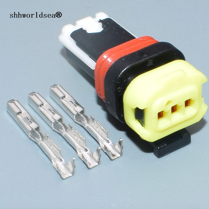 Shhworldsea 2/5/10/30/100sets 3 Pin 0.6mm Car Female Electric Instrument Wiring Harness Plug Connector With Terminals 1-936527-2