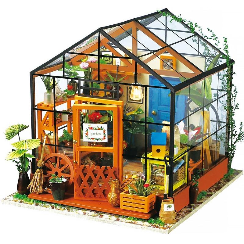 DIY Wooden Flower house Miniature Dollhouse 3D LED Mini Dollhouse Kit With Furniture Kit Light Creative Christmas Gift wooden handmade dollhouse miniature diy kit caravan