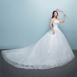 Image 2 - 2019 롱 트레인 웨딩 드레스와 함께 새로운 럭셔리 다이아몬드 섹시한 Strapless 아플리케 플러스 사이즈 맞춤 웨딩 드레스 로브 드 Mariee 패