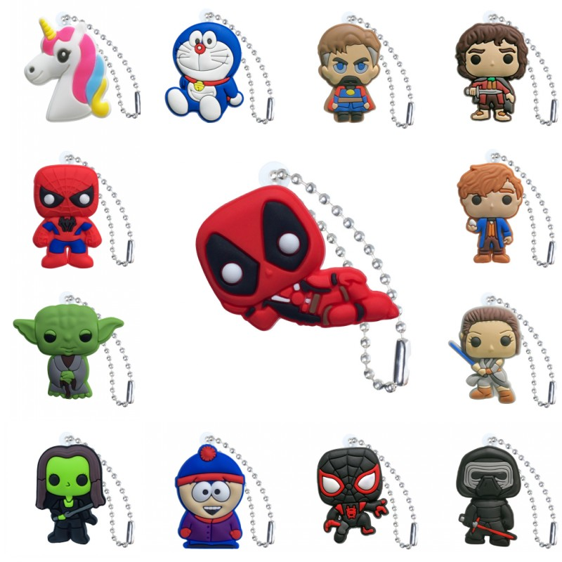 1pcs PVC Keychain Cartoon Figure Star Wars Spiderman Key Chains Key Ring Key Holder Key Cover Fashion Charms Trinkets Kids Gift