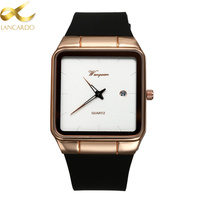 Square Mens Silicone Watches Top Brand Lancardo Luxury Calendar Simple Quartz Watches For Men And Women