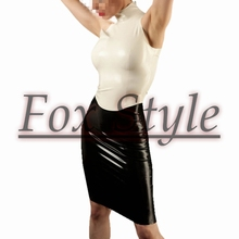 Free shipping latex sets a-line skirt with latex sleeveless shirt back zip