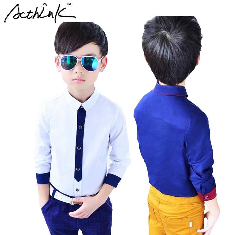 ActhInK 2017 New Arrival Boys Formal Dress Shirt with Print Tie Brand Fashion Long Sleeve Shirt for Boys Children Clothing,MC047 tie dye asymmetrical t shirt dress with long sleeve