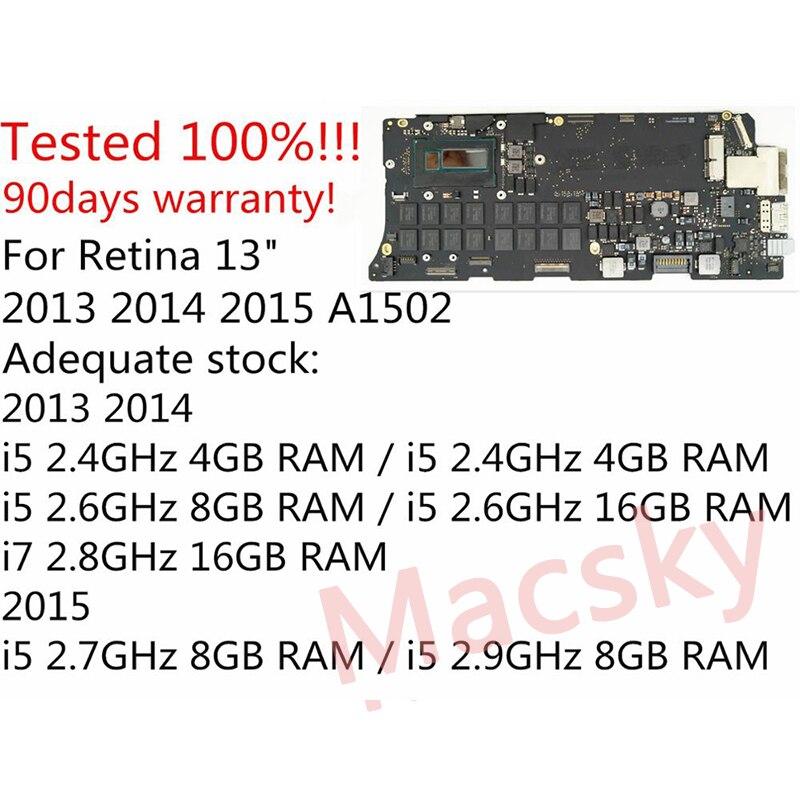 Original i5 2,6 GHz 8 GB i7 2,8 GHz 16 GB placa lógica para MacBook Pro Retina 13 A1502 placa base 661-8146 820-3476-A 2013, 2014