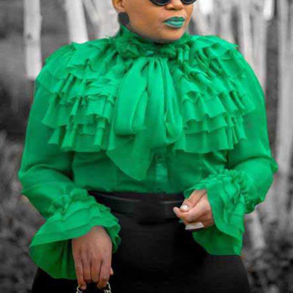 Простая блузка с оборками для женщин, длинный рукав, розовые оборки, женские топы, лето 2019, для офиса, леди, OL, элегантные рубашки и блузки