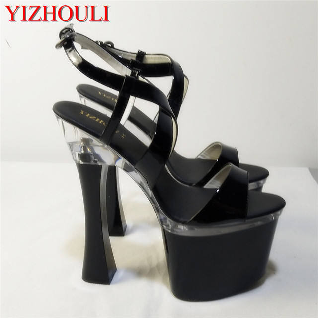 3c66ea200152 Unique Sexy Gladiator Platform Shoes 18cm High Heels Open Toe Sandals Black 7  Inch Spool Heels Platforms Exotic Dancer Shoes