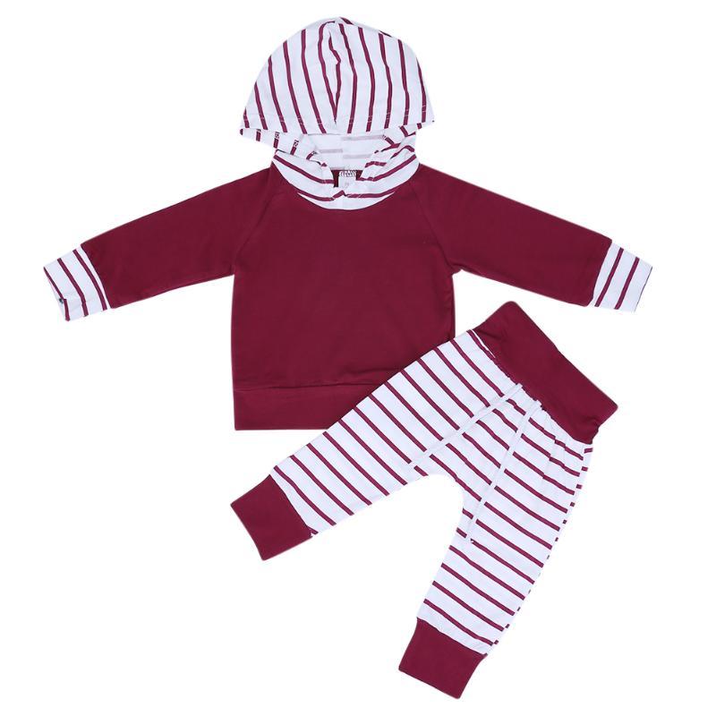 2pcs Autumn Winter Newborn Clothing Set Baby Boys Girls Stripe Print Hooded Coat Jacket Tops + Pants Outfit Infant Kids Clothes