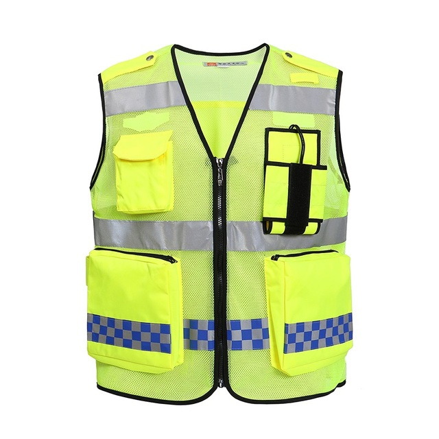 2016 High Visibility Night Reflective Safety Clothing Construction Traffic Police Warning Reflective Breatable Vest Printable