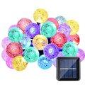 Solar Al Aire Libre Luces de Cadena de Bolas de los 20ft 30 Cadena de Luz LED de Cristal Globe Lámpara de Jardín de Navidad Garland Decoración de La Boda