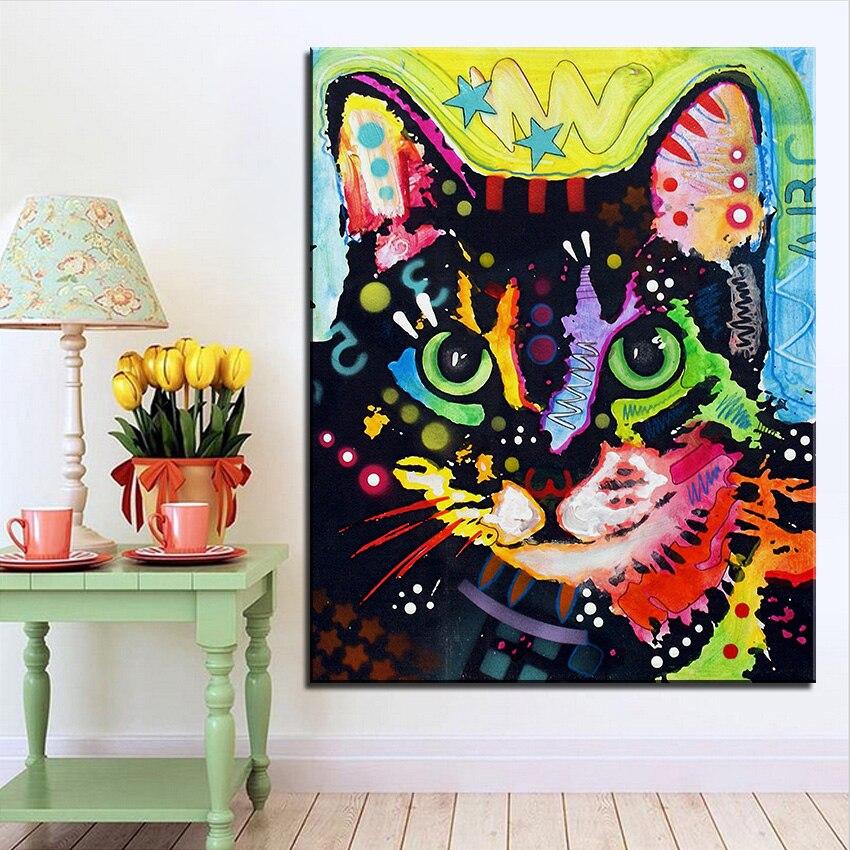 Impresión de gran tamaño pintura al óleo pintura mural maya gato ...