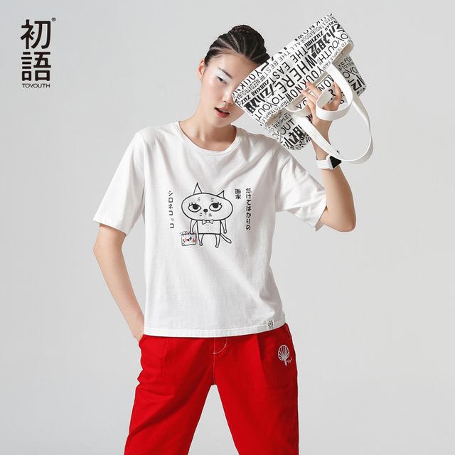 Toyouth Summer Women T-Shirt O-Neck Character Cotton Top Fashion Casual Clothing Loose