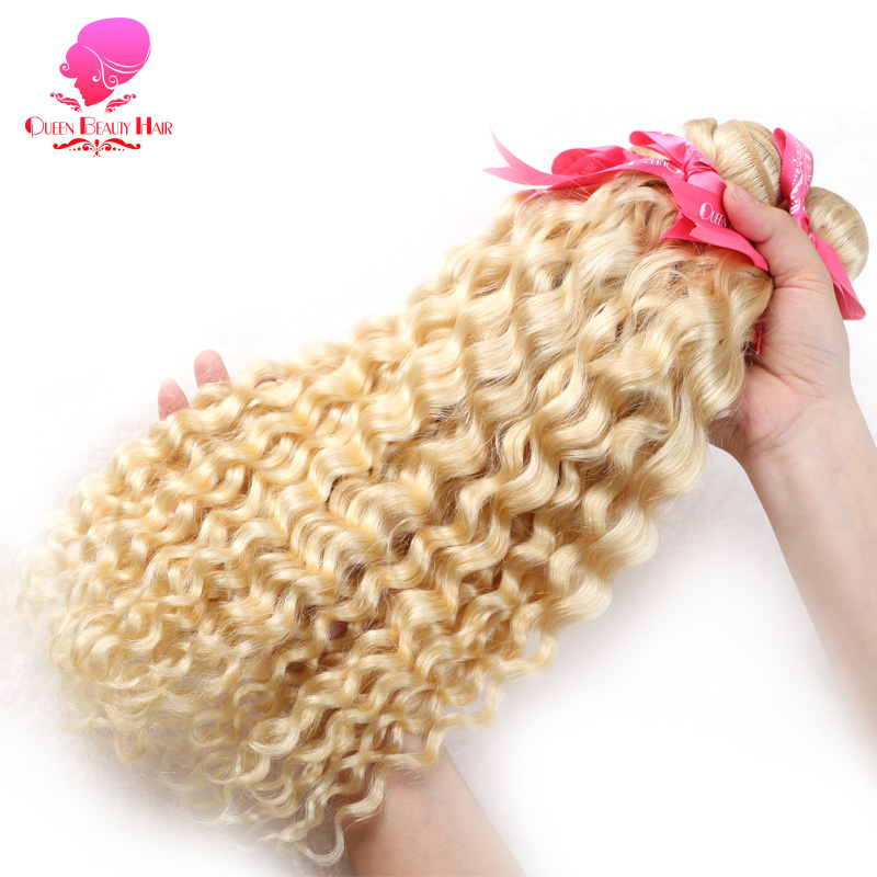 QUEEN BEAUTY 1 3 4 Pcs 613 Blonde Bundles Brazilian Curly Weave Human Hair Extensions 12
