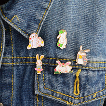 5pcs/set Lop-eared rabbit bag hat sleeping skirt Rabbit Brooch Button Pins Denim Jacket Pin Badge Jewelry Gift for Kids Girls(China)