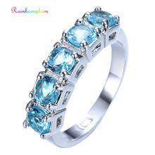 цена на Rainbamabom Real 925 Solid Sterling Silver Aquamarine Ruby Sapphire Peridot Gemstone Wedding Engagement Ring Jewelry Wholesale