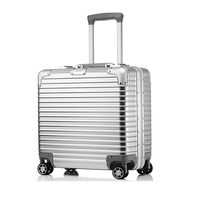 Airline Business Travel suitcase Rolling Luggage Aluminum Suitcase 18 Inch Computer Trolley Case ABS PC Carry On boarding Boxes