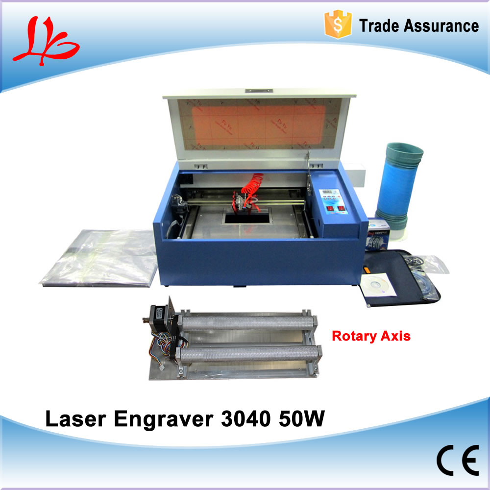 LY CO2 3040 Laser Engraving Machine 50W tube with rotary axis laser engraver machine 50w co2 laser tube working for 60w co2 laser engraving machine