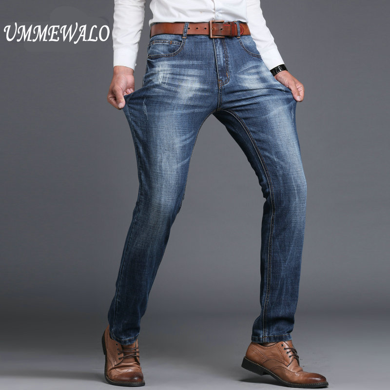 Nowy marka mężczyźni projektant odcinek na co dzień proste nogi denim jeans męskie regular fit bawełna biznes spodnie vaqueros hombre w Dżinsy od Odzież męska na  Grupa 1