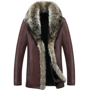Image 2 - Winter Sheep Leather Men Raccoon Fur Men Long High Quality Solid Color Thickening Velvet Leather Coat Outerwear Parkas MZ1158