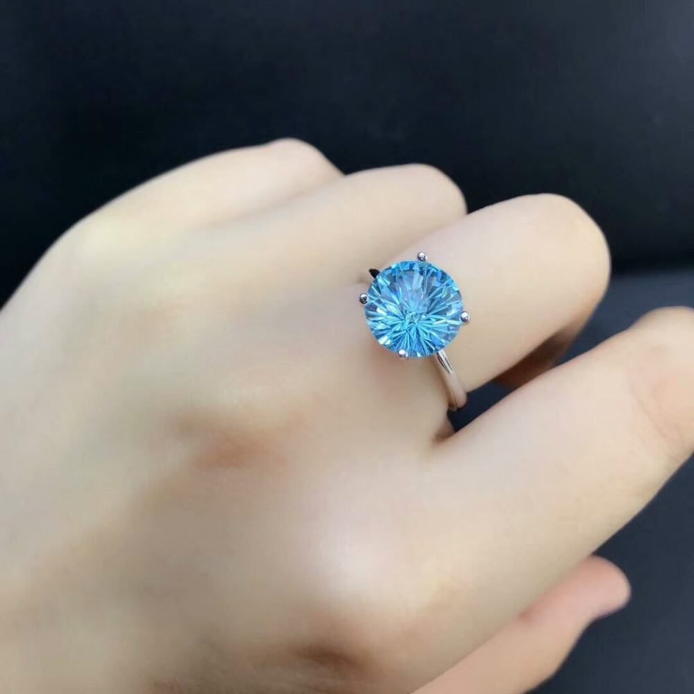 DJ CH Natural Gemstone Fine Jewelry Yancha Cutting Blue Topaz Gems Stone Ring 925 Sterling Silver