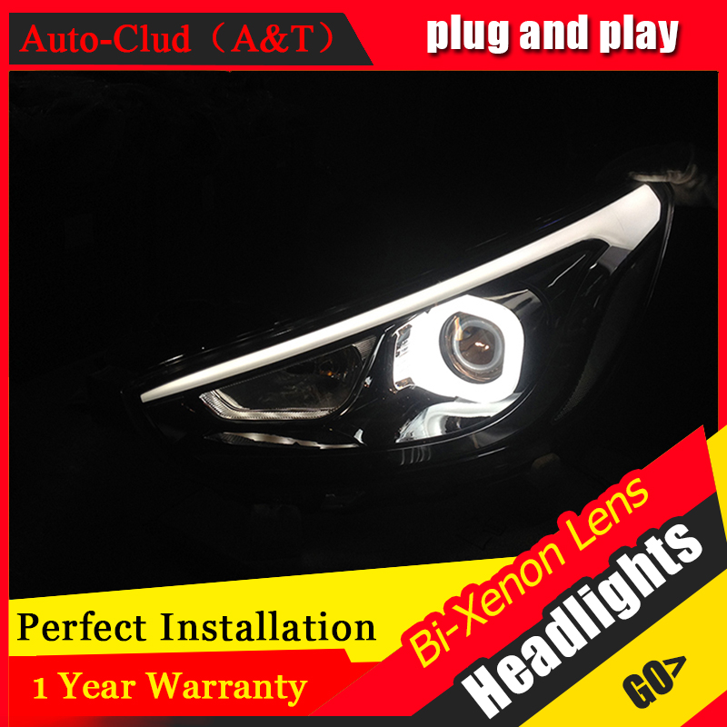 Car Styling For Hyundai Solaris headlights 2011 2013 Accent led headlight Verna turn signal drl H7