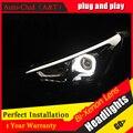 Faros de coche Que Labra Para Hyundai Solaris 2011-2013 Accent Verna drl señal de vuelta led faro H7 hid Bi-Lente de xenón luz de cruce