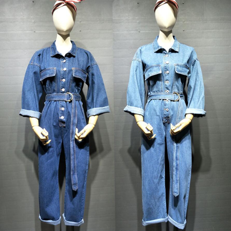 Fashion Safari Style Denim Overalls Women 2018 Autumn Long Sleeve Bodysuit High Waist Jeans Bodysuit Romper Jumpsuit