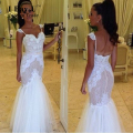 I Bay U Sheer Corset Lace Wedding Dress Mermaid Sexy Open Back Lace Bodice and Tulle Skirt Wedding Dress 2017 Abito Da Sposa