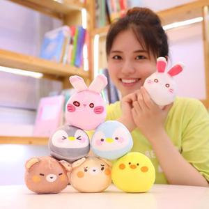 Image 5 - Nette Tiere Pudding Plüsch Spielzeug Mini Runde Bälle Küken Bär Pinguin Bunny EINE Tasche von Plushie 8 stücke Lebensmittel Snack spielzeug Plüsch Kissen