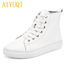 AIYUQI Women flat shoes 2019 spring new genuine leather women casual shoes, white Sneakers laced Loafers