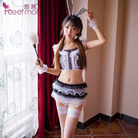 Lovely Rabbit Girl Hot Sexy Erotic Lingerie 2018 New Women Cosplay Babydoll Net Cloth Uniforms Temptation Sex Porn Dress