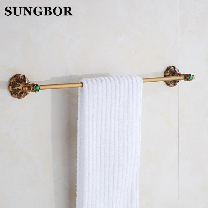 Single rod towel bar bathroom full copper European shower room pendant antique towel rack single pole HT-6610F стоимость