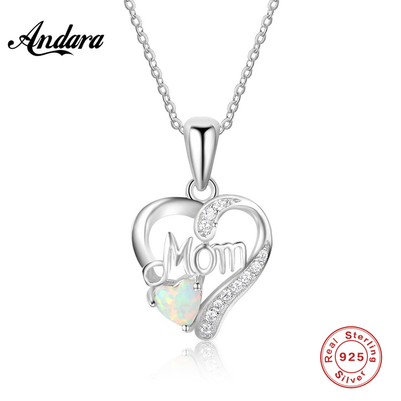 2018 New Design Necklace in Sterling Silver MOM <font><b>Crystal</b></font> AAA Zircon Protein Heart Pendant Woman Charm Jewelery image