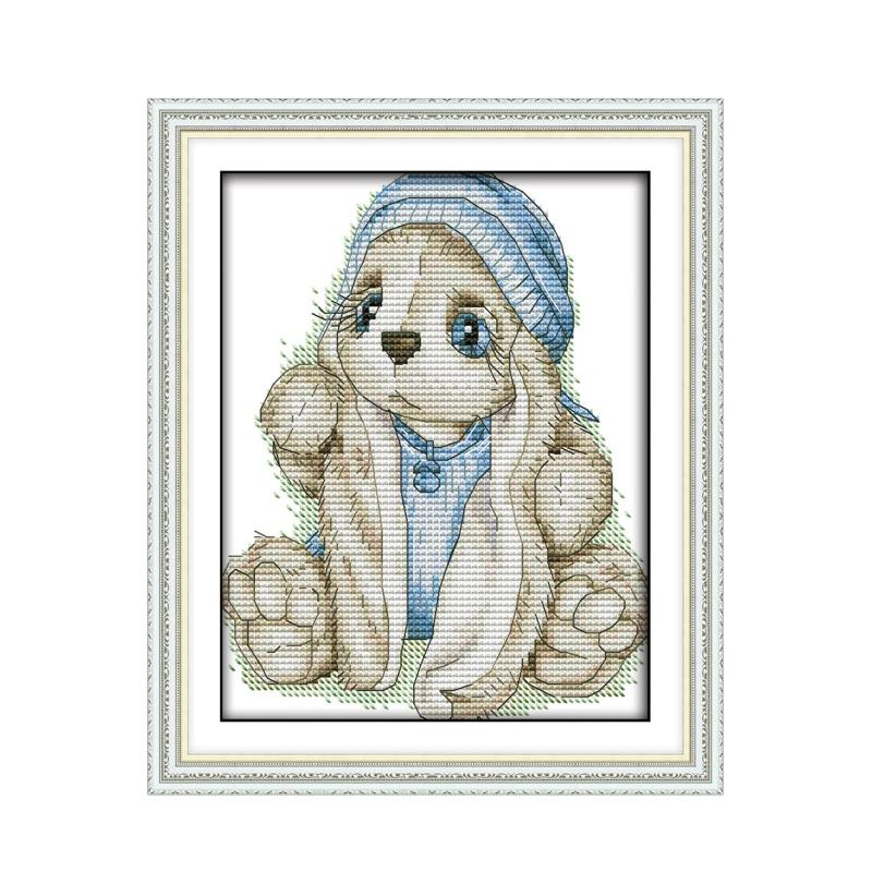 A Rabbit In a Blue Hat DMC Cross Stitch Kits 11 14CT Ecological Cotton Chinese Cross Stitch Kits Handmade Embroidery Needlework